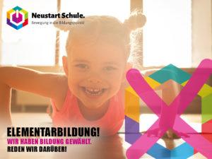 Poster: Elementarbildung. Junges Mädchen am macht Turnübung am Boden und lacht