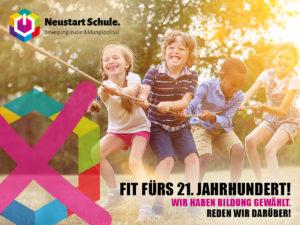 Poster: Fit fürs 21. Jahrhundert. Mehrere Kinder ziehen beim Spielen gemeinsam an einem Seil