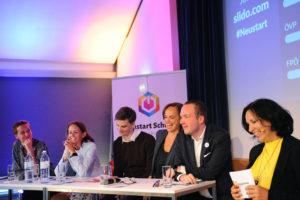 "Diskussion: "" Neustart Schule Bildungsarena ""; Sibylle Hamann, Therese Niss, Douglas Hoyos-Trauttmannsdorf, Sonja Hammerschmid, Michael Stumpf, Petra Stuiber"